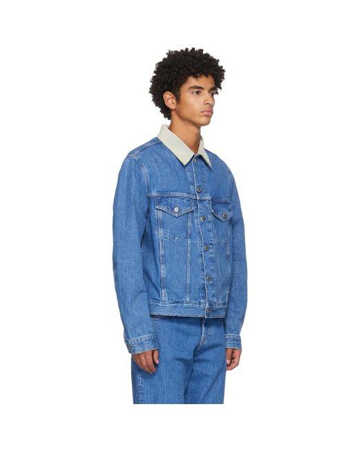 メンズ Helmut Lang ブルー デニム Masc ビッグ トラッカー ジャケット Blue