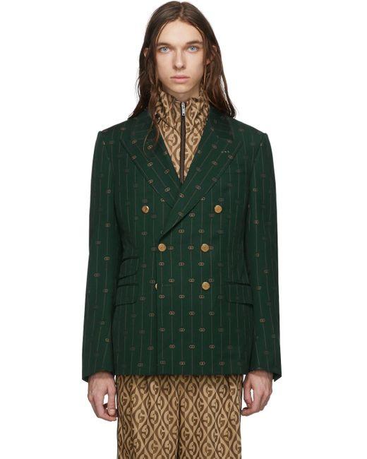 メンズ Gucci グリーン GG ストライプ Signoria ブレザー Green