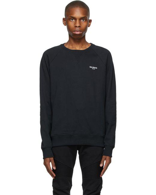 メンズ Balmain ブラック ロゴ スウェットシャツ Black