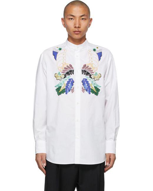 メンズ Valentino ホワイト バンド カラー シャツ White