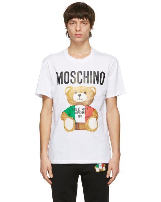 メンズ Moschino ホワイト Italian Teddy Bear T シャツ White