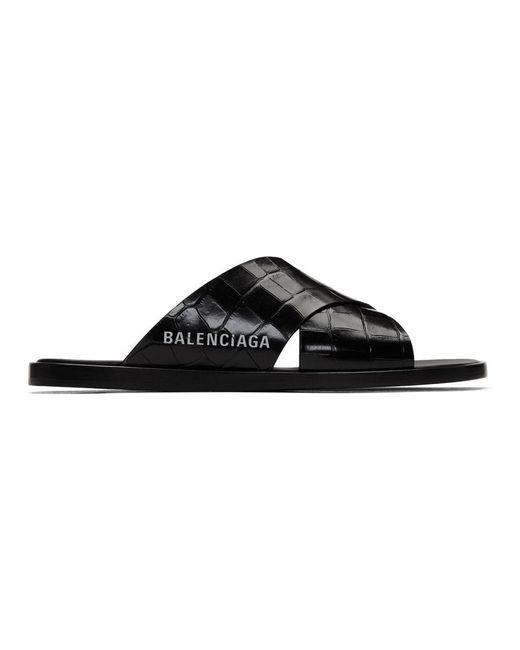 メンズ Balenciaga ブラック コージー クロコ サンダル Black
