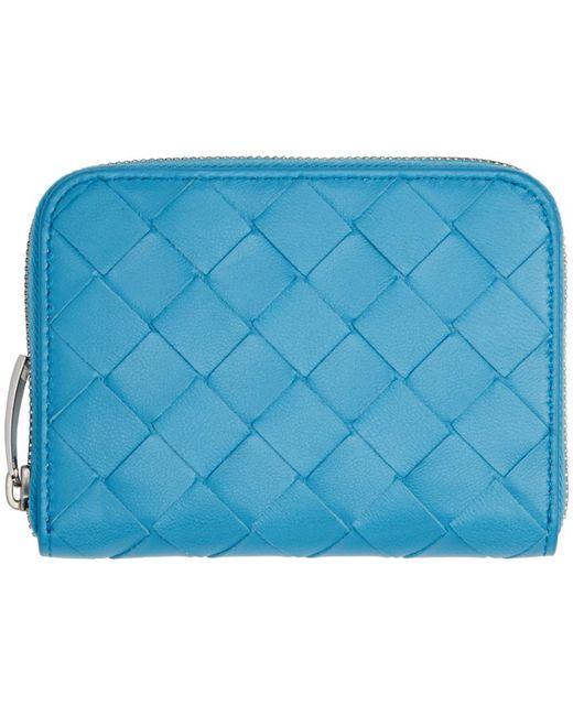 Bottega Veneta ブルー イントレチャート ジップ コイン ケース Blue