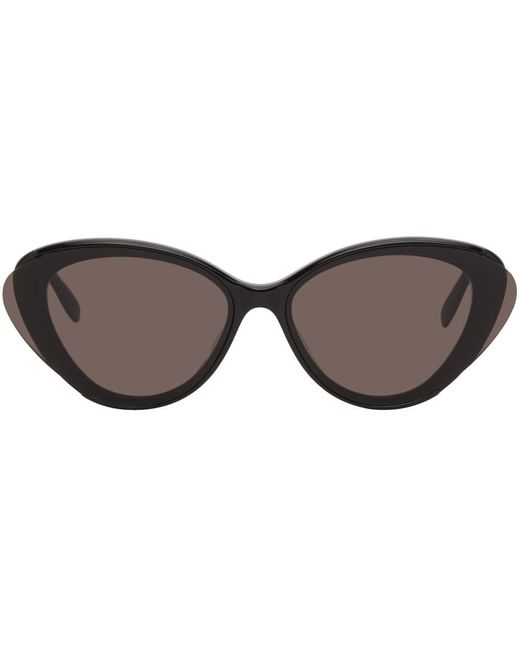 Alexander McQueen ブラック オーバーサイズ オーバル サングラス Black