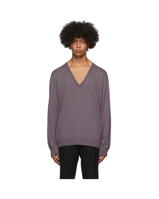 メンズ Dries Van Noten パープル リラックス V ネック セーター Purple