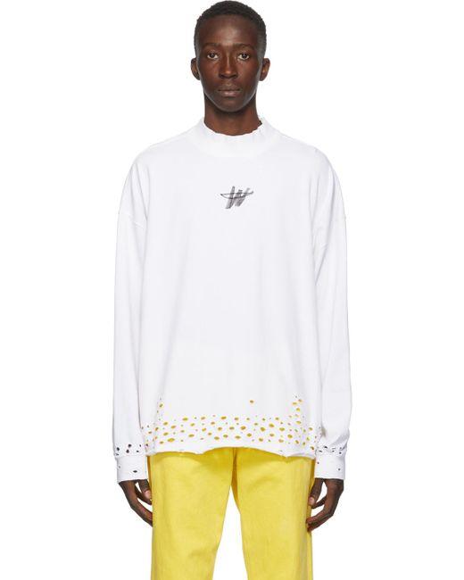 メンズ we11done ホワイト ディストレス Wd ロゴ ロング スリーブ T シャツ White
