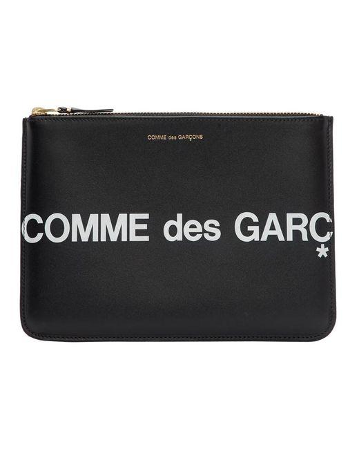 メンズ Comme des Garçons ブラック Huge ロゴ ジッパー ポーチ Black