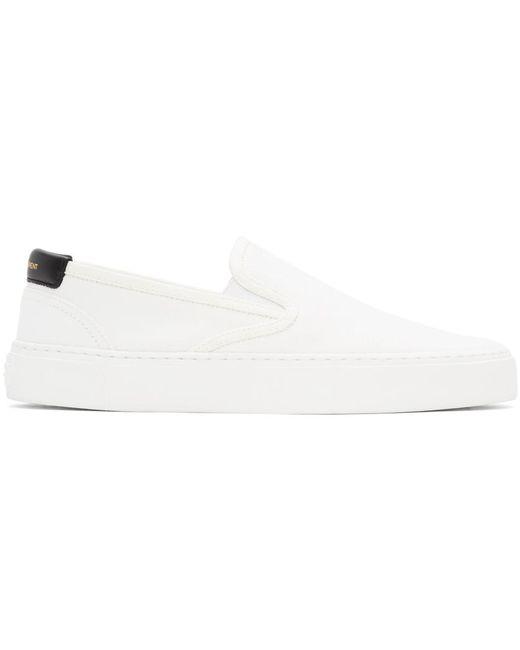 Saint Laurent White Venice Slip-on Sneakers for men