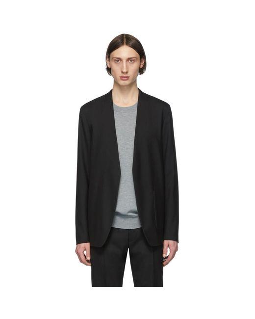 メンズ Maison Margiela ブラック ウール カラーレス ブレザー Black