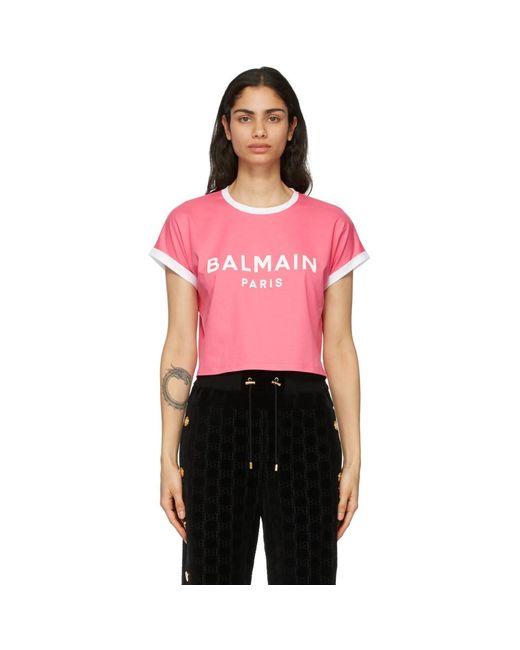 Balmain ピンク And ホワイト クロップ ロゴ T シャツ Pink