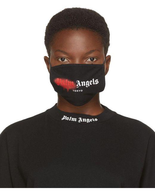 Palm Angels ブラック & レッド スプレー ロゴ マスク Black