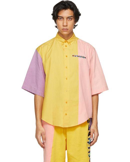 メンズ Moschino マルチカラー Geometric ロゴ ショート スリーブ シャツ Yellow