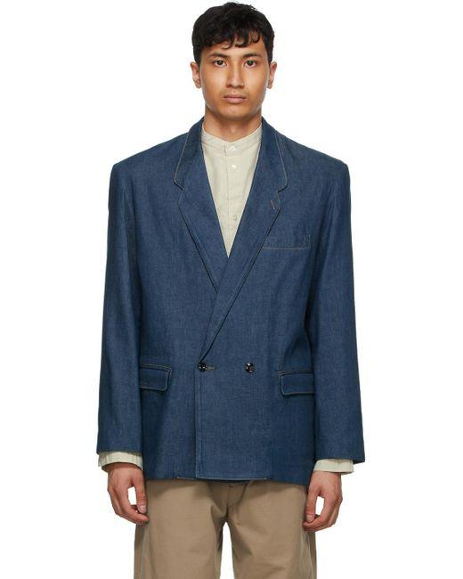 メンズ Lemaire ブルー デニム ダブルブレスト ジャケット Blue