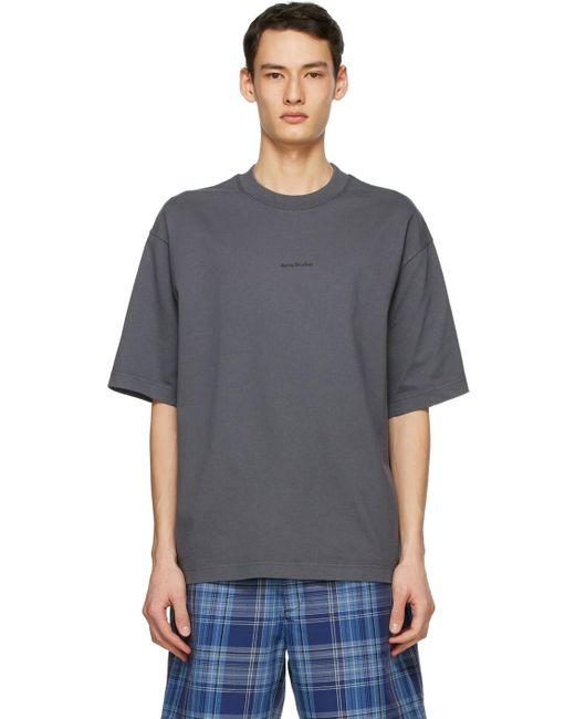 メンズ Acne グレー ロゴ T シャツ Gray