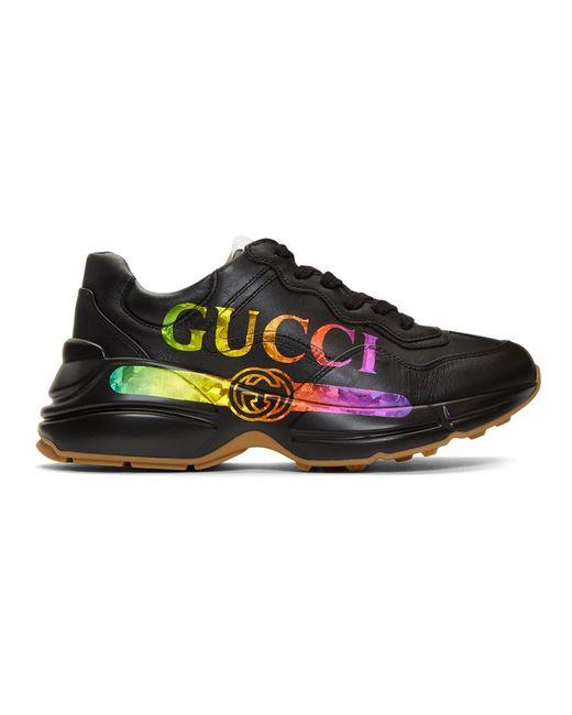 Gucci ブラック ヴィンテージ ライトン スニーカー Black