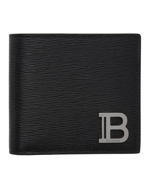メンズ Balmain ブラック モノグラム バイフォールド ウォレット Black