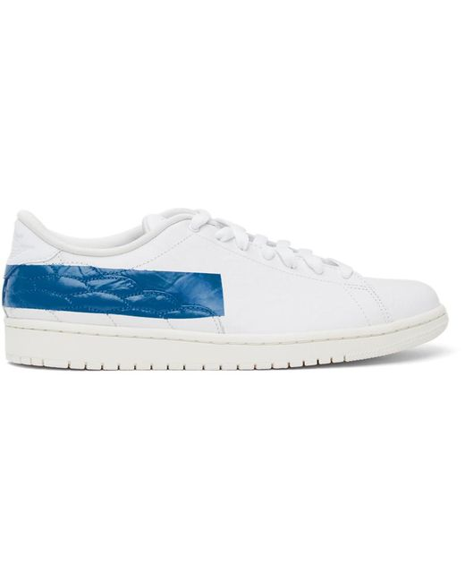 メンズ Nike ホワイト & ブルー Air Jordan 1 Centre Court スニーカー White