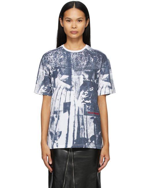 Alexander McQueen ホワイト & ネイビー Overprint T シャツ Blue
