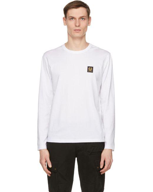 メンズ Belstaff ホワイト ロゴ ロング スリーブ T シャツ White