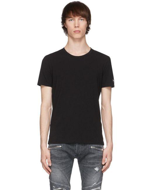 メンズ Balmain ブラック クルーネック T シャツ Black