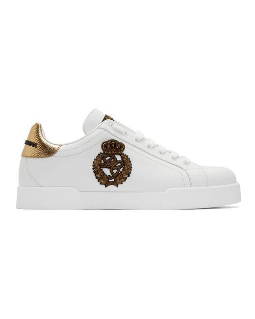 メンズ Dolce & Gabbana ホワイト And ゴールド クレスト ポルトフィーノ スニーカー White