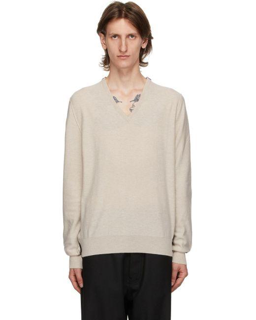 メンズ Maison Margiela ベージュ & ブラック Gauge 12 V ネック セーター Natural