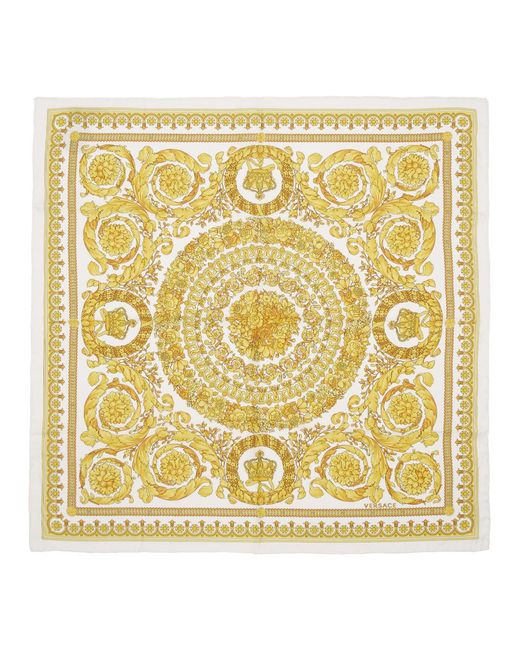 Versace ホワイト シルク Barocco スカーフ White