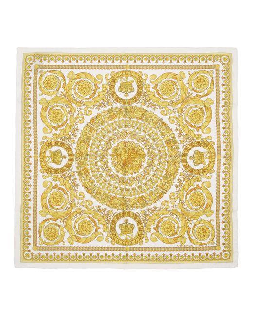 Versace ホワイト シルク Barocco スカーフ Multicolor