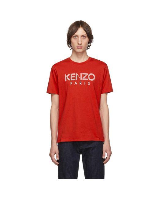 メンズ KENZO レッド クラシック ロゴ T シャツ Red