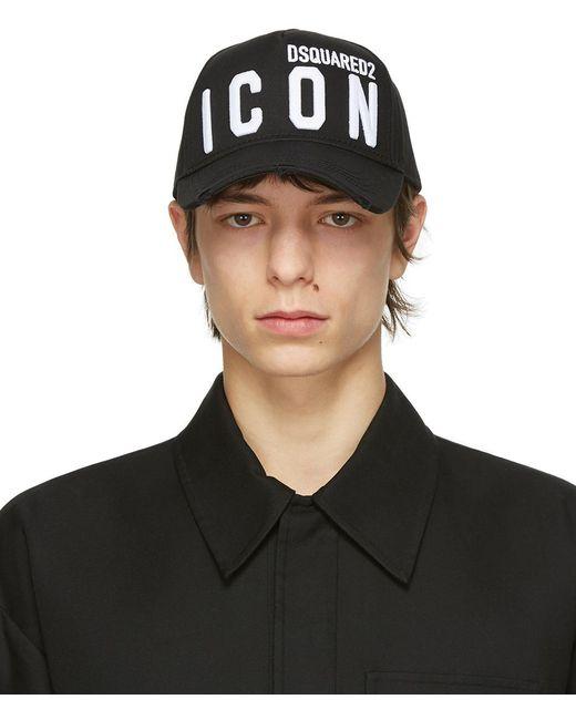 メンズ DSquared² ブラック Icon ベースボール キャップ Black
