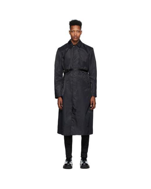 メンズ 1017 ALYX 9SM ブラック ナイロン トレンチ コート Black