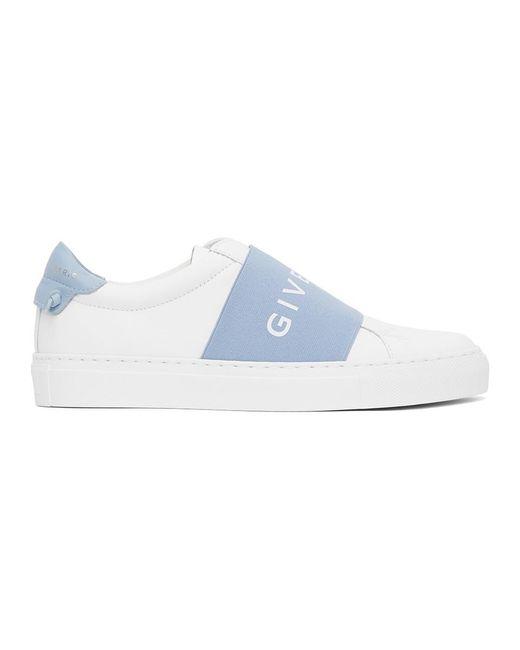 Givenchy ホワイト And ブルー エラスティック Urban ノット スニーカー Blue