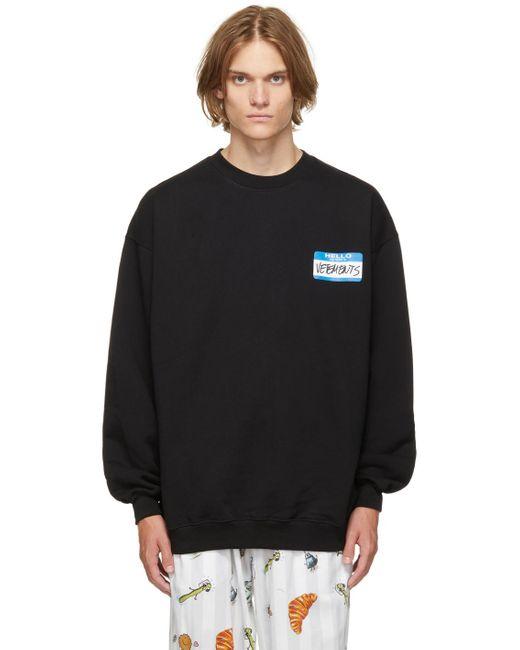 メンズ Vetements ブラック My Name Is スウェットシャツ Black