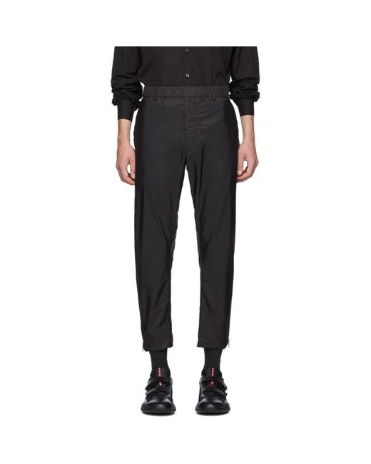 メンズ Prada ブラック ナイロン フル サイド ジップ トラウザーズ Black