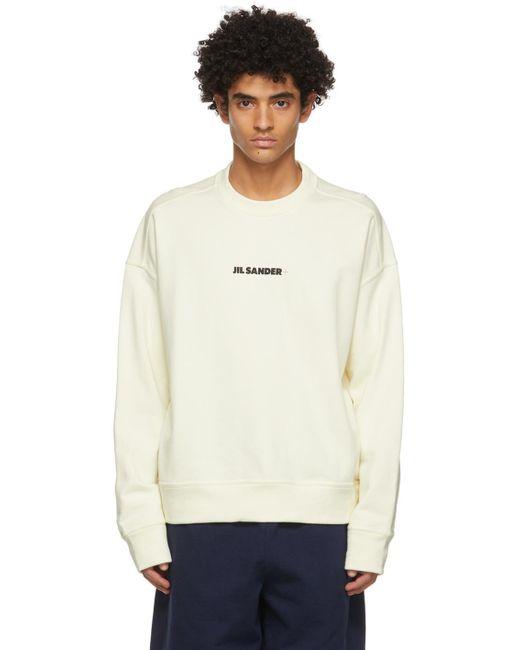 メンズ Jil Sander オフホワイト ロゴ スウェットシャツ White
