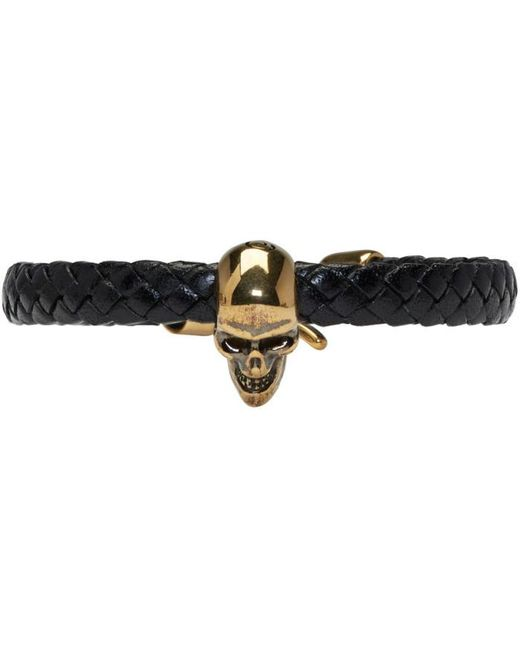 Alexander McQueen   Black Leather Skull Bracelet for Men   Lyst