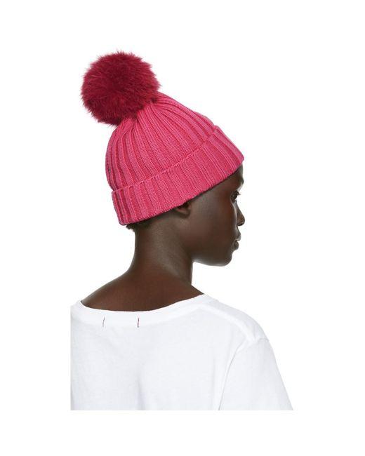 ed0051277fa269 Moncler Pink Fur Rib Pom Pom Beanie in Pink - Lyst