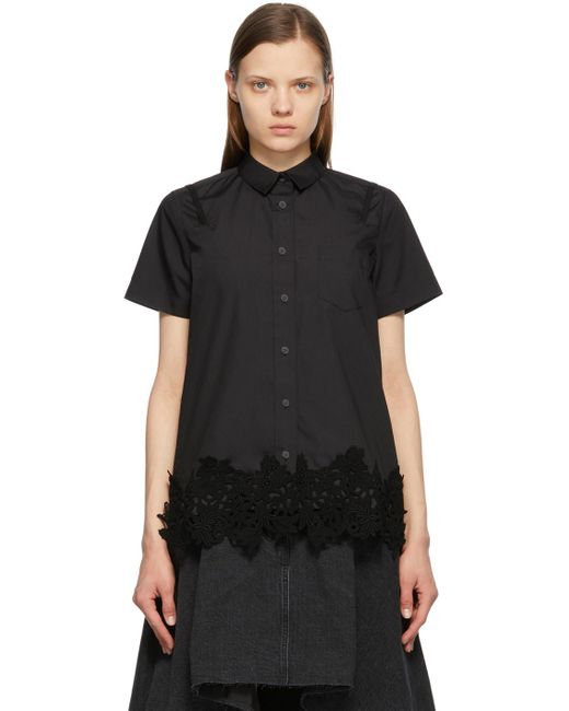 Chemise noire en popeline à manches courtes et dentelle Sacai en coloris Black