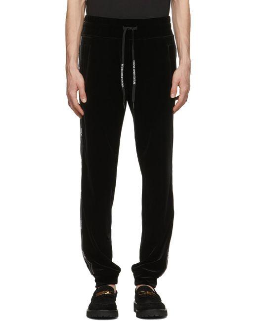 メンズ Versace Jeans ブラック ベロア ロゴ トラック パンツ Black