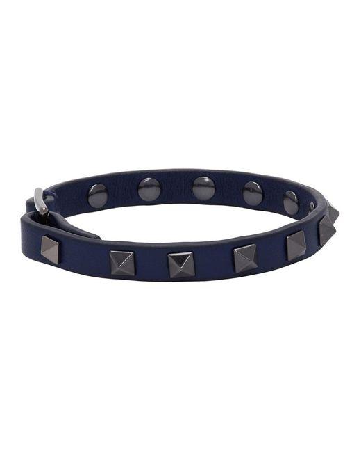 メンズ Valentino Garavani コレクション ブルー ロックスタッズ ブレスレット Blue