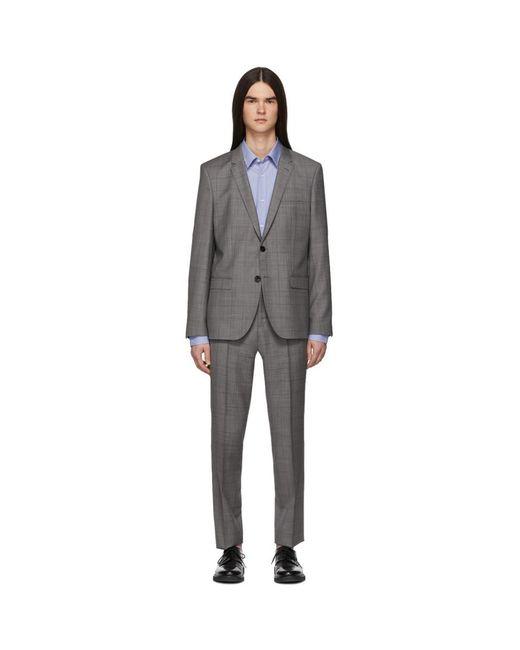メンズ HUGO グレー チェック Arti/hesten スーツ Gray