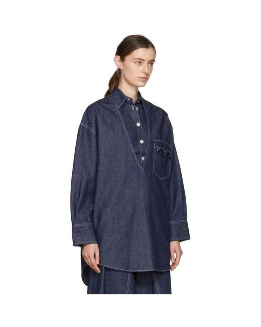 Indigo Raw Denim Layered Shirt Dress Maison Martin Margiela Cheap Sale Eastbay PW5aFu40