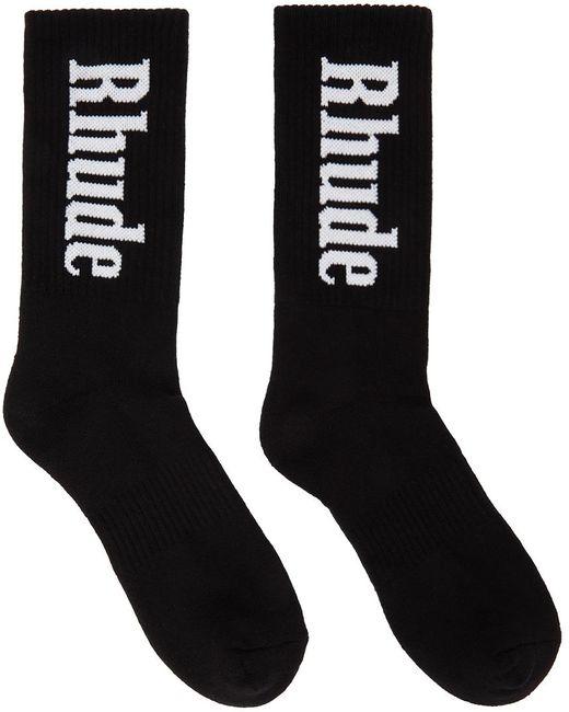 メンズ Rhude ブラック ロゴ ソックス Black