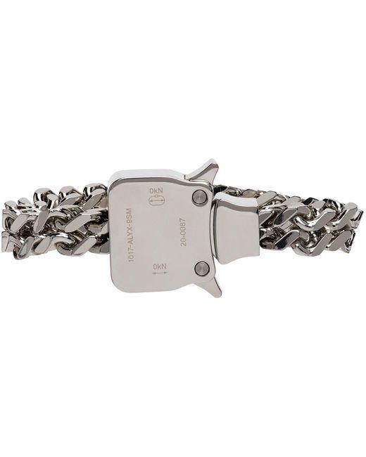 1017 ALYX 9SM Metallic Silver Mini Cubix Bracelet for men