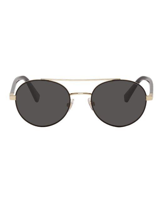 メンズ Dolce & Gabbana ゴールド メタル ラウンド サングラス Black