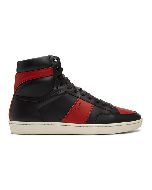 Saint Laurent Black And Red Court Classic Sl/10h Sneakers for men