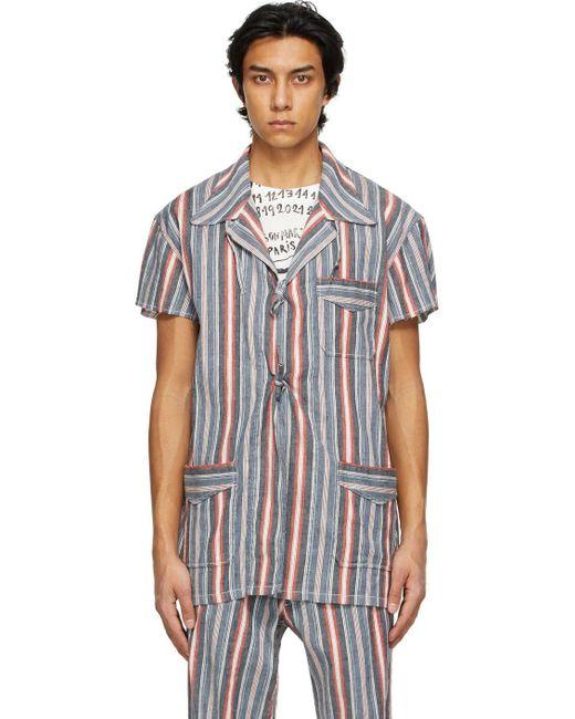 メンズ Maison Margiela マルチカラー ストライプ ショート スリーブ シャツ Multicolor