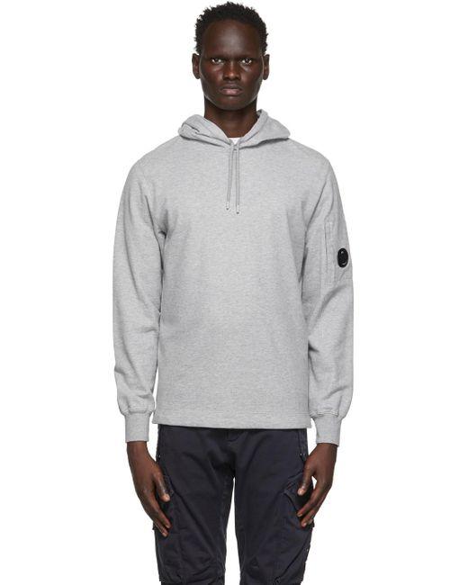 メンズ C P Company グレー Garment-dyed プルオーバー フーディ Gray