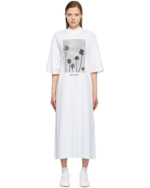 Palm Angels ホワイト Palm Trees Boulevard T シャツ ドレス White