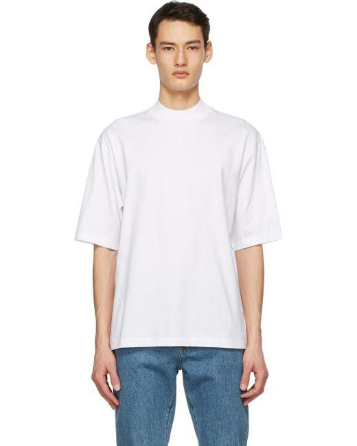 メンズ Acne ホワイト モックネック T シャツ White
